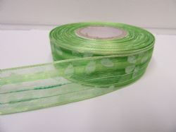 2 metres or 20 metre Roll 25mm Leaf Green Wired Organza Sheer Flower Ribbon (1)